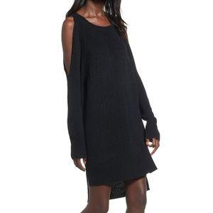 Shredded Back Cold Shoulder Dress- XS